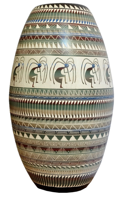 Large Navajo ceramic vase hand etched with figural and geometric features by JMSN