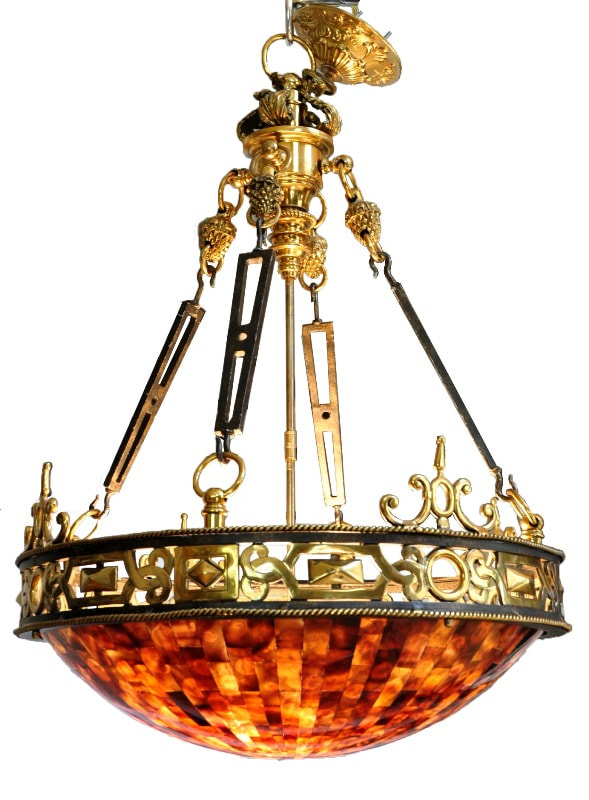 Maitland-Smith brass and iron Empire chandelier with penshell inlaid bowl