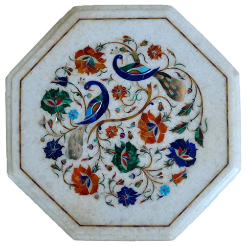 Octagonal marble plaque with pietra dura artwork of peacocks and flowers