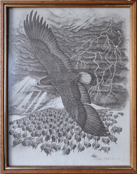 Native American themed artwork depicting an eagle flying above a herd of bison