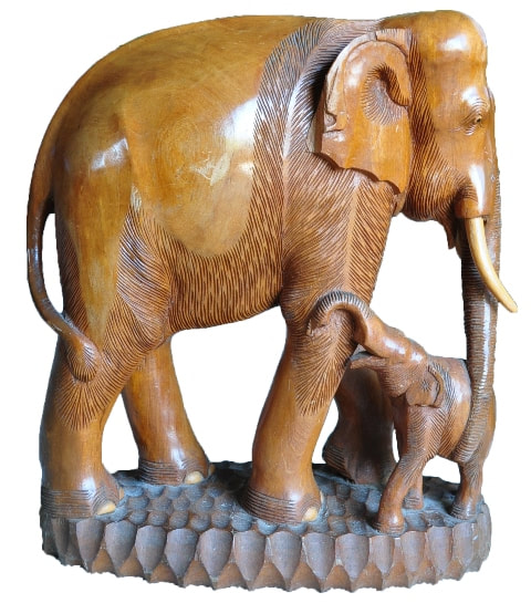 Solid teak wood sculpture of a mother elephant with her baby