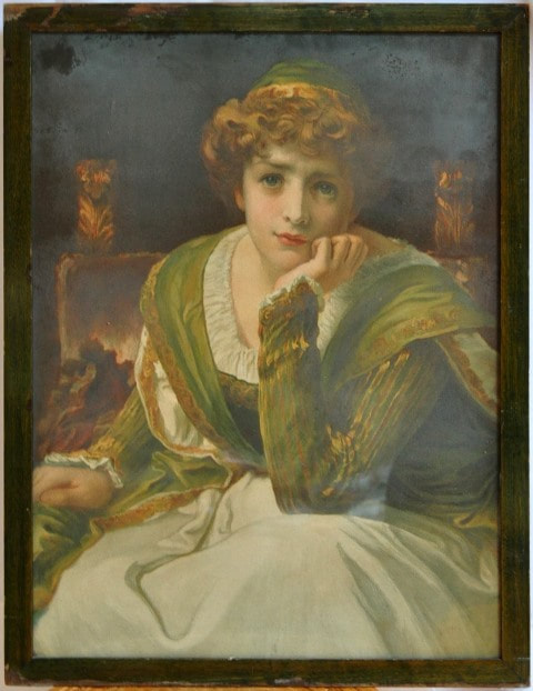 Chromolithograph of a painting depicting a woman in contemplation