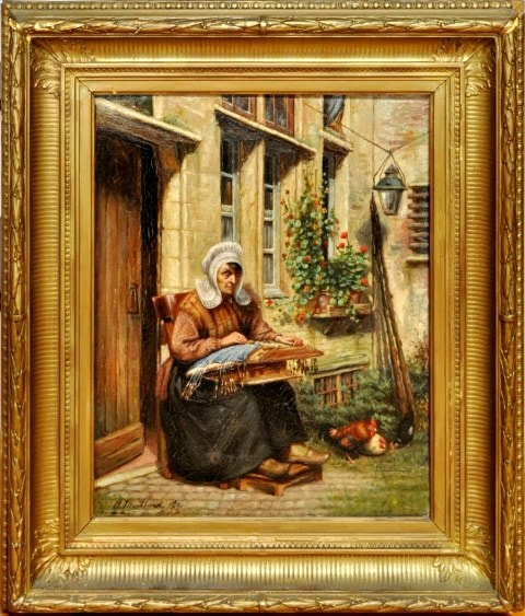 19th century oil on canvas painting of a lady doing needlework
