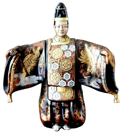 Cloisonne metal statue of a Japanese Noh dancer with mask