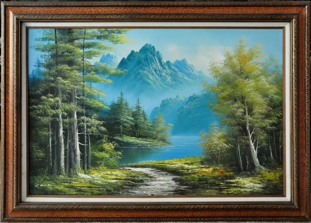 Landscape oil on canvas painting by R. Boter