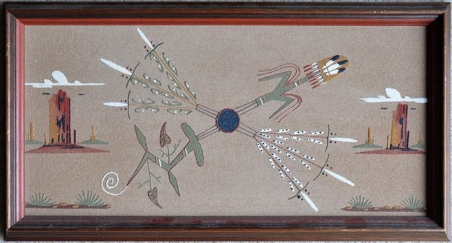 Native American sandpainting titled 4 Sacred Plants by Lester Johnson