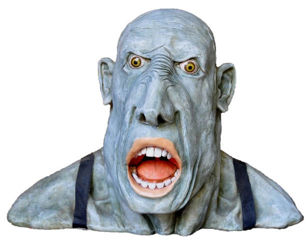 Signed Peter Mook sculpture Gobsmacked depicting a scary ogre with its mouth open