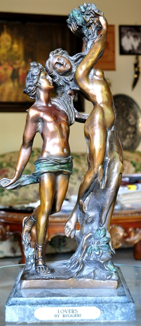 Bronze sculpture of nude couple by G. Ruggeri titled Lovers