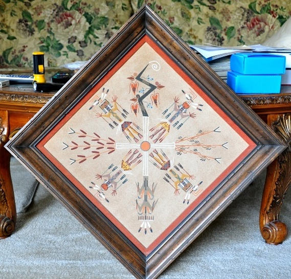 Native American sandpainting titled Healing People by Lester Johnson