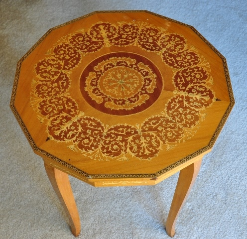 Italian marquetry 12 sided jewelry box table with Swiss music movement