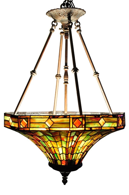 Pendant chandelier with funnel shaped Tiffany style shade