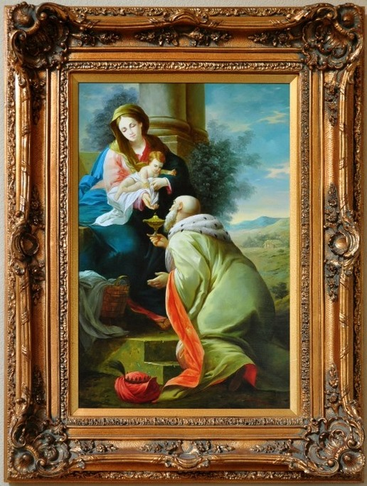 Painting of wise man bringing gift to baby Jesus