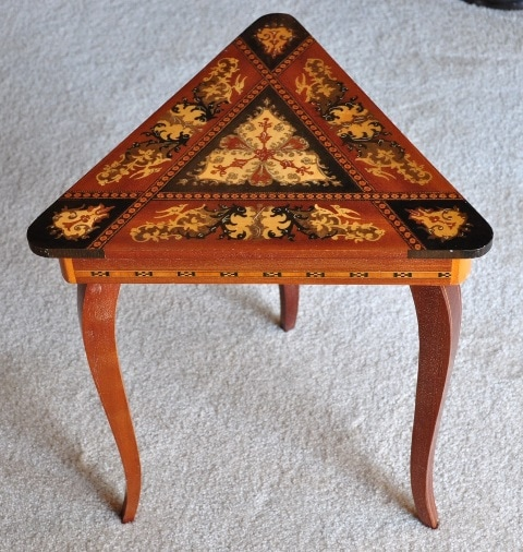 Italian marquetry triangular jewelry box table with Swiss music movement