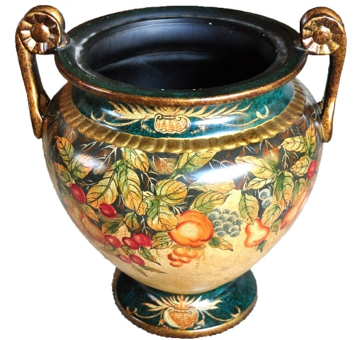 Colorful painted ceramic vase with handles