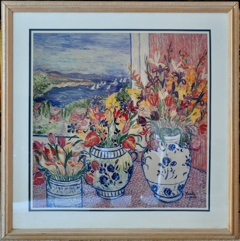 Print of floral painting titled Harbor Still Life by Leslie Sayour