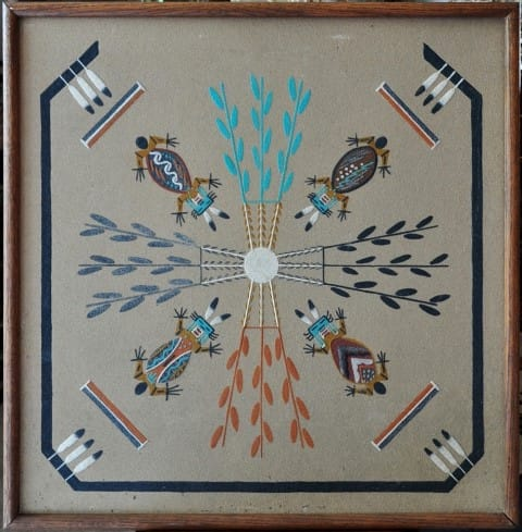 Navajo Native American sand painting titled Water Creatures by Lee Begay