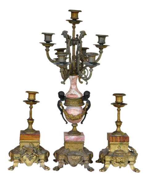 Italian gilt bronze and marble 7-light candelabrum and a pair of candlesticks