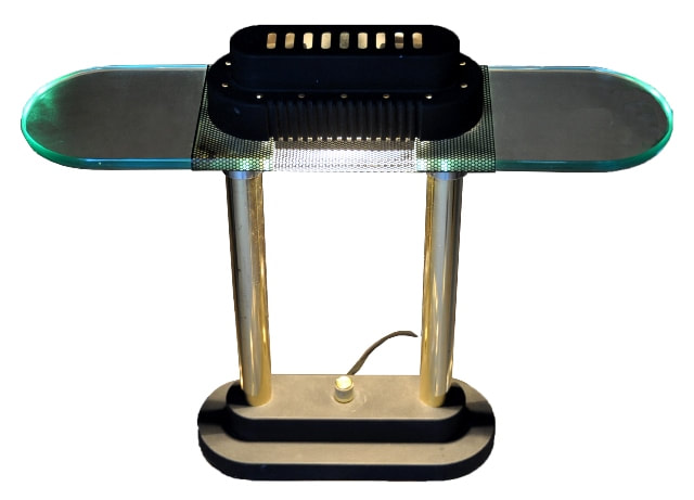 Banker's lamp with polished brass finish columns and clear glass shade