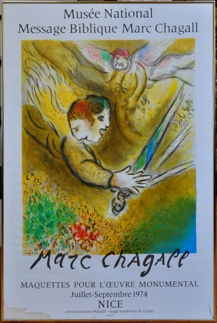 The Angel of Judgement 1974 color lithograph exhibition poster from the Musée National Message Biblique Marc Chagall