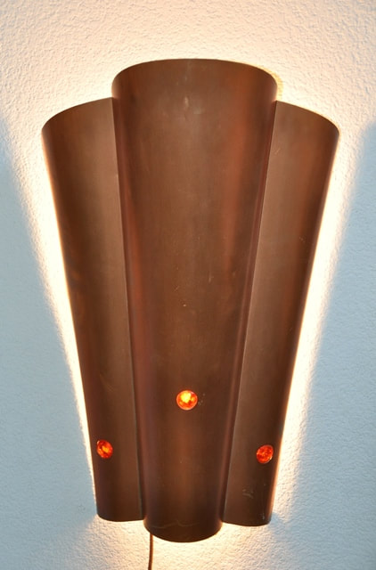 Pair of Art Deco style copper wall sconces with jewel accents