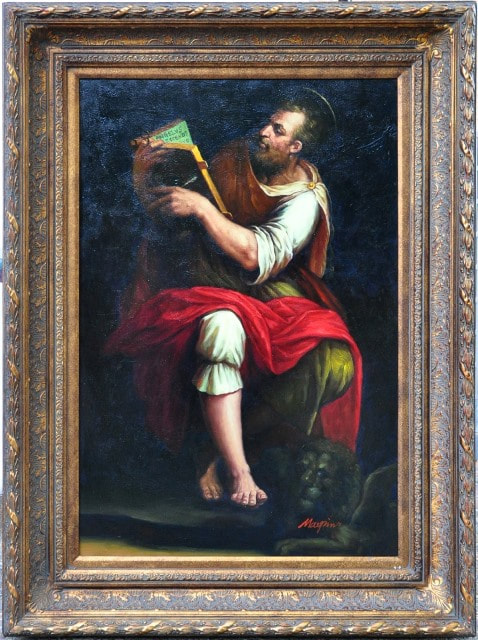 ​Renaissance style painting depicting St. Mark writing his gospel