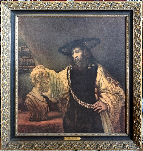 Framed print of Rembrandt painting Aristotle with a Bust of Homer