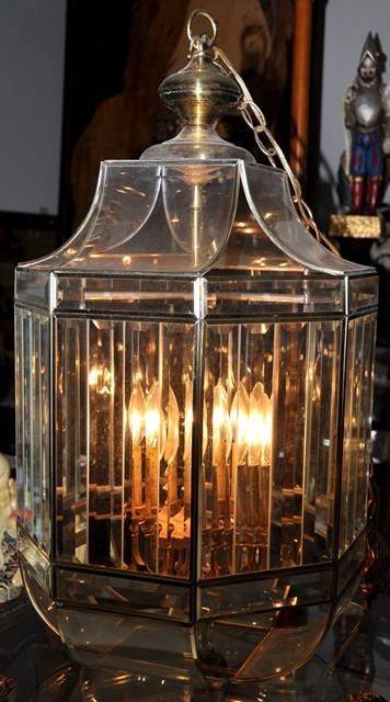Large beveled glass and brass octagonal foyer hanging light