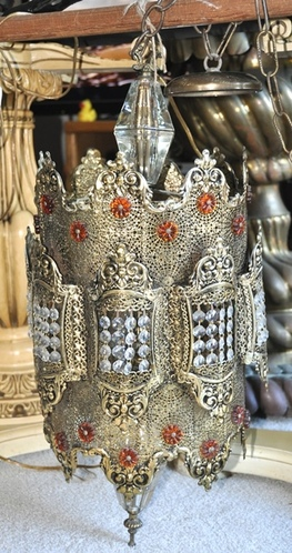 Middle-Eastern brass filigree and crystal pendant chandelier