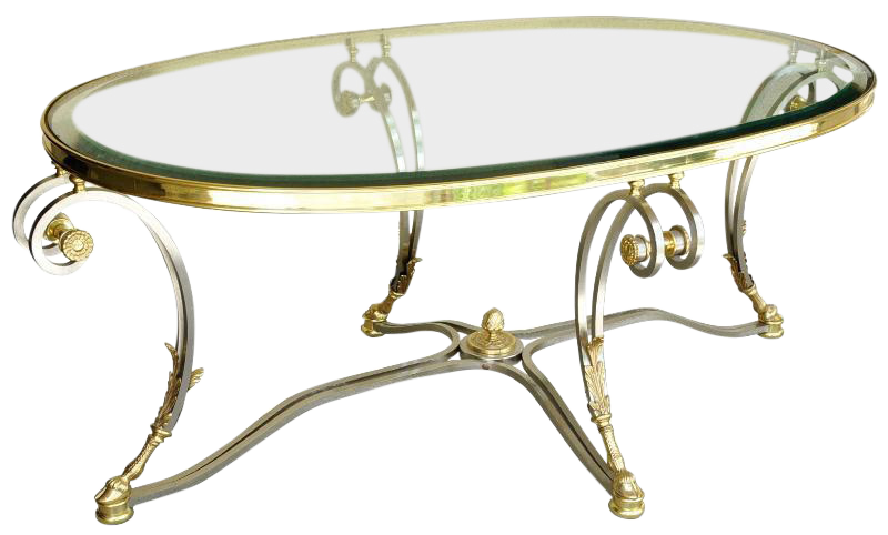 La Barge oval glass top Louis XVI style brushed chrome and brass cocktail table having scrolled legs with stylized ram hoof feet