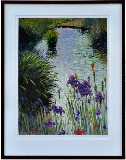 Large framed serigraph depicting irises around a pond with water lilies