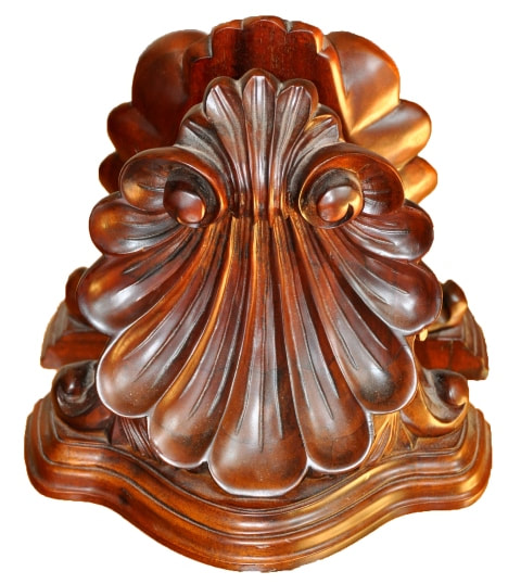 Pair of shell shaped carved mahogany bookends by Selamat Designs