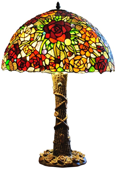 Tree shaped Tiffany style table lamp with oval shade