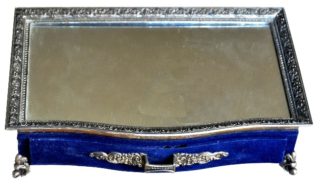 Beautiful jewelry box with mirrored top and silver plated metal parts