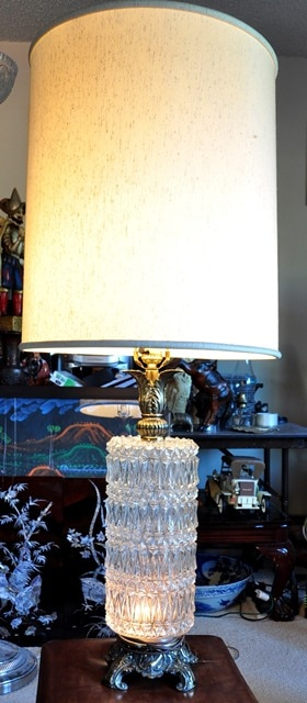 Pair of Hollywood Regency table lamps with patterned glass bases