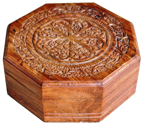 Carved octagonal wooden jewelry box from India