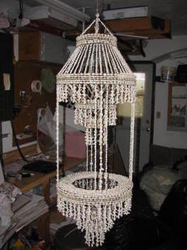Artistic Polynesian planter in the form of a  chandelier made from sea shell