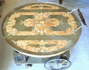 Italian marquetry round tea service cart from Sorrento