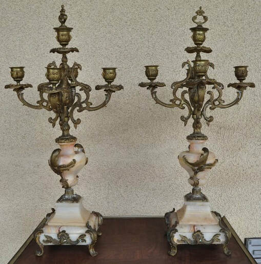 Pair of 19th century French brass and onyx 5-light candelabra