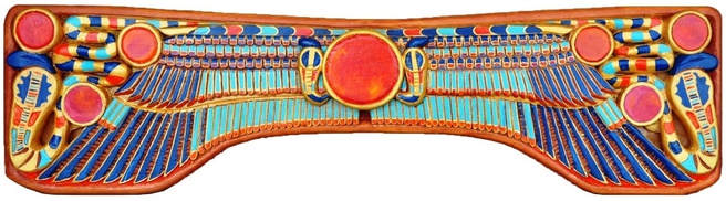 Hand carved and painted bas-relief wood wall hanging depicting Egyptian motifs