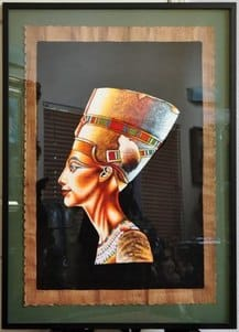 Large original oil on papyrus painting by Said of Cairo depicting queen Nefertiti