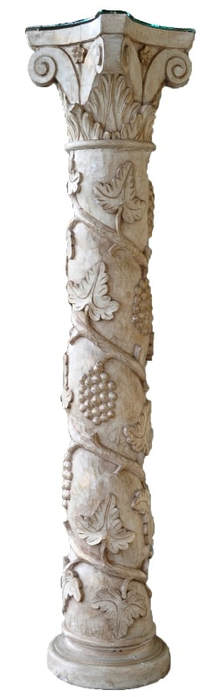 Solid wood Solomonic column with Corinthian capital and grape vine bas-relief carvings