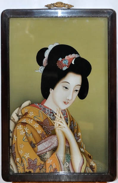 Reverse glass painting of a geisha