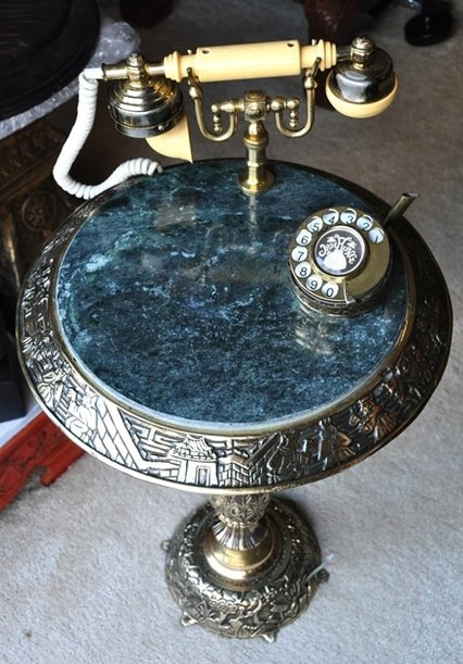 French telephone on green marble top brass table with engraved artwork