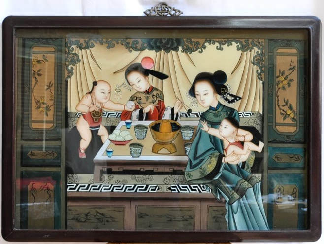 Reverse glass painting depicting Chinese women and children