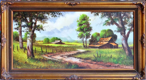 Oil on panel painting titled Sun in the Meadow by Edgardo F. Garcia