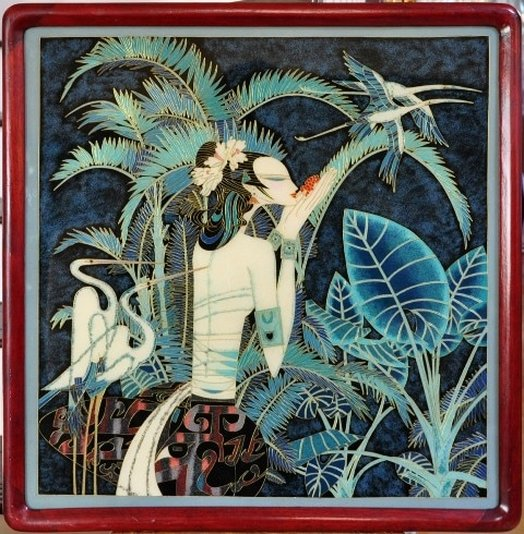 Reproduction of Ting Shao Kuang's Paradise as a Chinese enamel painting