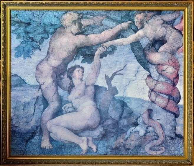 Reproduction of Adam and Eve in the Garden by Michelangelo