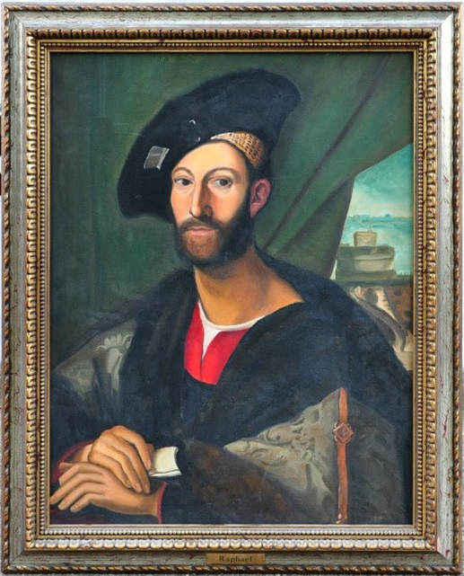 Hand-painted oil on canvas painting after Raphael of Giuliano de' Medici, Duke of Nemours