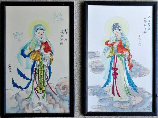 Our Lady of China and Madonna and Child Amidst the Clouds silk paintings by John Lu Hung Nien