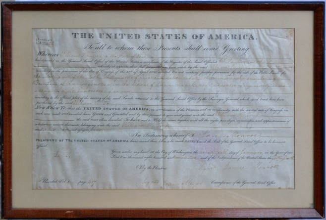 Land grant certificate signed in 1822 by the 5th US President James Monroe​